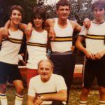"""Quattro di coppia ragazzi Ghiardello Giovanbattista """"Batti"""" Ariatta E. Carletto Spadaccini Sibilia Campionati Italiani 1983 Medaglia di Bronzo"""
