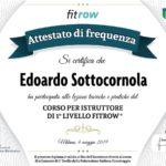 Diploma Edoardo sottocornola Istruttore 1° Livello Fitrow